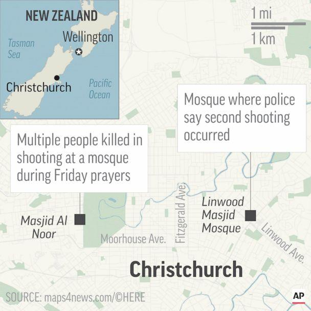 PHOTO: A map shows the location of two shootings in Christchurch, New Zealand, on Friday, March 15, 2019. (AP)