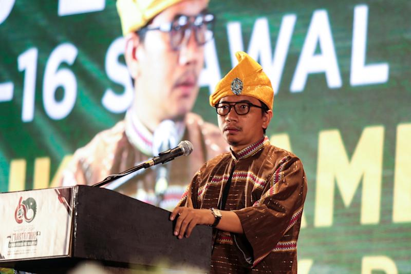 PAS Youth chief Muhammad Khalil Abdul Hadi speaks during the Dewan Pemuda at Muktamar 2019 in Gambang, Pahang June 19,2019. — Picture by Ahmad Zamzahuri