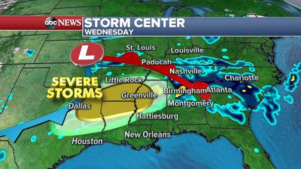 More severe storms are expected from Texas to Alabama on Tuesday. (ABC News)