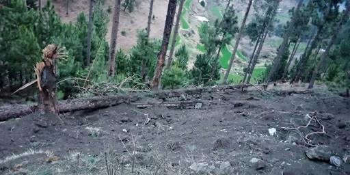 A photo released by Pakistan's military shows a view of damage caused after Indian jets dropped their payload