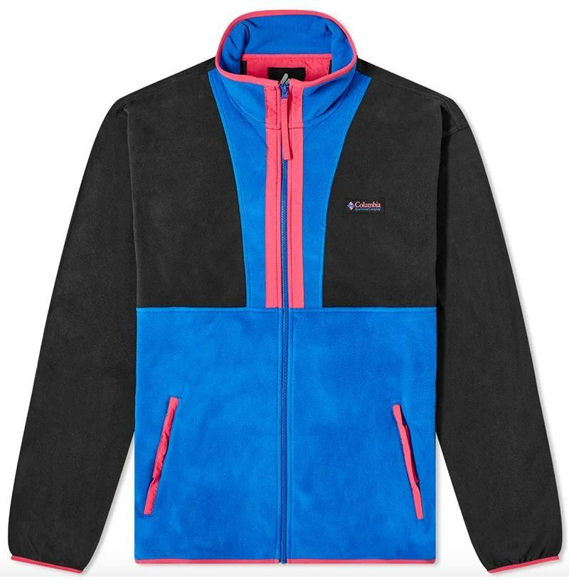 """<p><strong>Columbia</strong></p><p>endclothing.com</p><p><strong>$55.00</strong></p><p><a href=""""https://go.redirectingat.com?id=74968X1596630&url=https%3A%2F%2Fwww.endclothing.com%2Fus%2Fcolumbia-back-bowl-fleece-1890764-010.html&sref=https%3A%2F%2Fwww.esquire.com%2Fstyle%2Fmens-fashion%2Fg12478291%2Ffleece-clothing-mens-style%2F"""" target=""""_blank"""">Buy</a></p><p>A fittingly sporty take from the sportsmen at Columbia with a heavy dose of '90s flavor—electric blue panels, hot pink nylon, and all. <br></p>"""