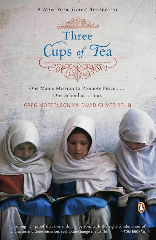 """This book cover image released by Viking shows the paperback release of """"Three Cups of Tea: One Man's Mission to Promote Peace... One School at a Time,"""" by Greg Mortenson and David Oliver Relin. Relin committed suicide in Corbett, Ore., outside Portland, on Nov. 14, said the deputy Multnomah County medical examiner, Peter Bellant, Sunday, Dec. 2, 2012. Relin was 49. (AP Photo/Viking)"""