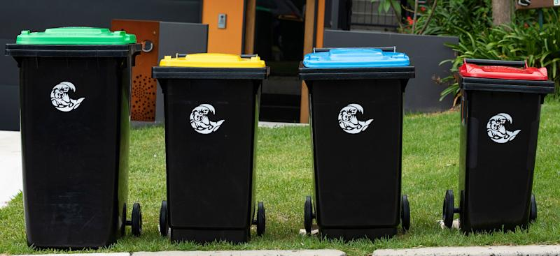 Four kerbside bins in the Northern Beaches Council area in Sydney. Source: Northern Beaches Council