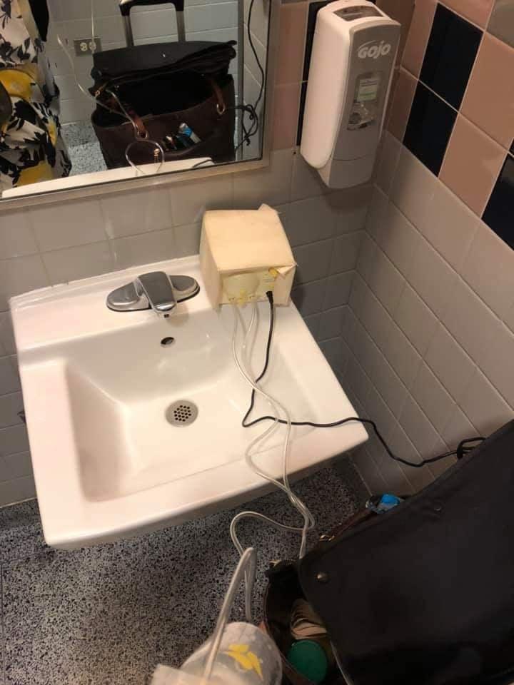 The woman was discreetly pumping airport bathroom in between meetings. Photo: Facebook/bfmamatalk/