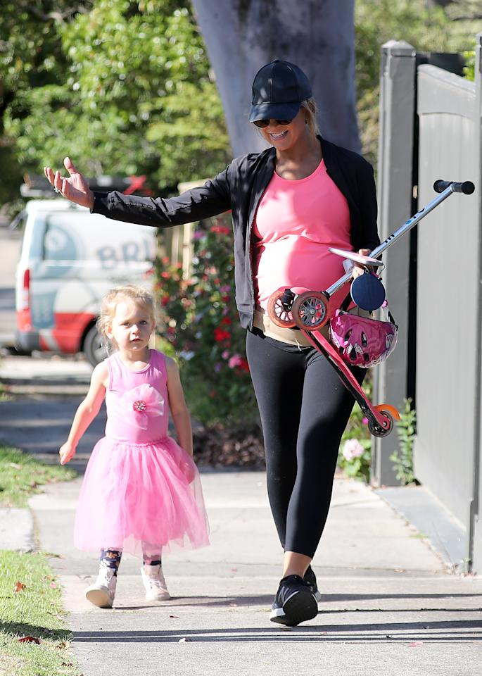 <p>The Project host stepped out with her three-year-old daughter Evie. Photo: Diimex </p>