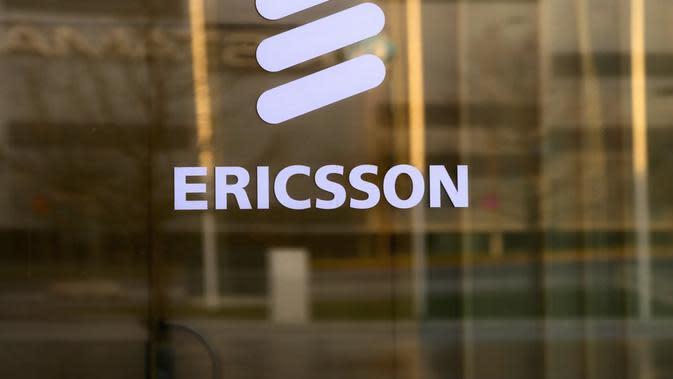 Logo Ericsson di kantor pusatnya di Stockholm, Swedia. Kredit: Ericsson