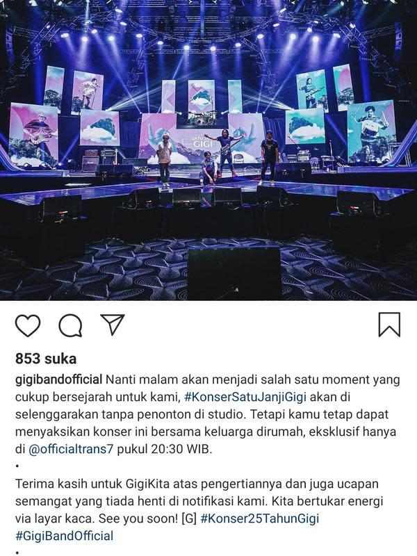 Konser 25 Tahun Gigi Band tanpa penonton (Instagram)