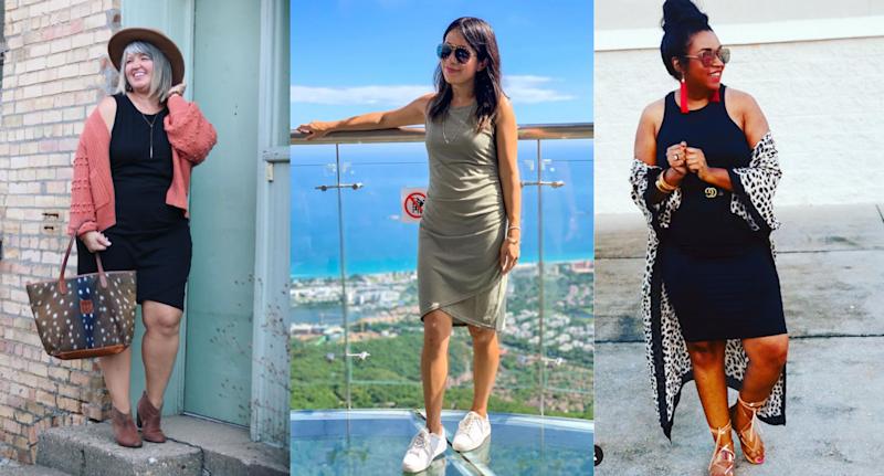 Women seen wearing the Leith Ruched Body-Con Tank Dress.