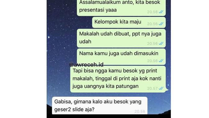 5 Chat Kerja Kelompok Ini Kasihan Banget, Bikin Geregetan (sumber: Instagram.com/awreceh.id)