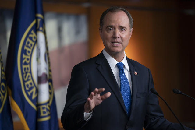 House Intelligence Committee Chairman Adam Schiff talks to reporters at the Capitol in Washington, D.C., on Wednesday. (AP Photo/J. Scott Applewhite)