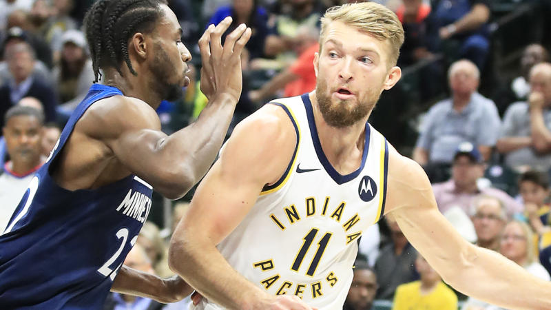 Indiana's Domantas Sabonis, pictured playing against Minnesota, could be traded by the Pacers.