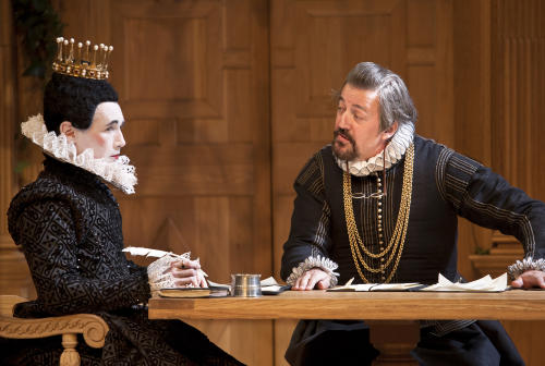 """In this image provided Monday Nov. 19, 2012 by Sonia Friedman Productions, Mark Rylance, as the character Olivia, left, and Stephen Fry, as the character Malvolio, during a dress rehearsal in """"Twelfth Night"""" at a London theatre, Nov. 1, 2012. Mark Rylance's latest London performances are hot tickets, and not just because he is one of Britain's leading Shakespearean actors. It's a chance to see him in two wildly contrasting roles, the scheming usurper dispatching everyone who stands between him and the throne in """"Richard III,"""" and the aloof countess Olivia, blindsided by love, in the boisterous comedy """"Twelfth Night."""" (AP Photo/Simon Annand, Sonia Friedman Productions)"""
