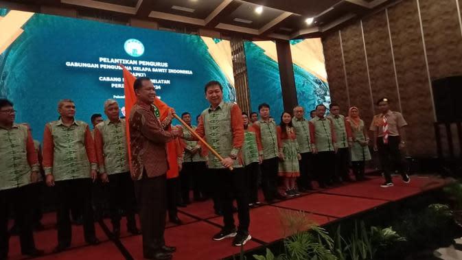 Pelantikan pengurus Gapki Sumsel periode 2019-2024 di Hotel Harper Palembang Sumsel (Liputan6.com / Nefri Inge)