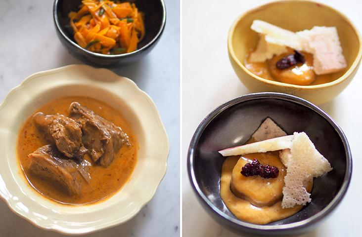 The braised baby goat served with a tomato yoghurt sauce and a piquant pumpkin kimchi (left) Reward yourself with this poached plantains served with coconut caramel, mulberries and aerated milk crisp for dessert (right)