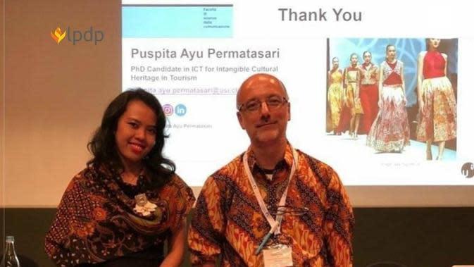 Puspita Ayu Permatasari bersama Prof. Lorenzo Cantoni, Ph.D, Kepala USI UNESCO Università della Svizzera italiana, Swiss (dok. Instagram @lpdp_ri)