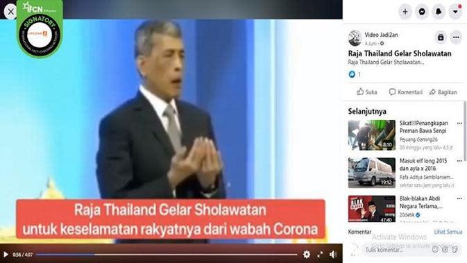 Gambar Tangkapan Layar Video Raja Thailand (sumber: Facebook)