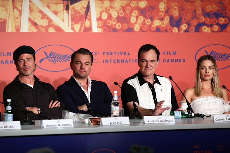 "Brad Pitt, Leonardo DiCaprio, Director Quentin Tarantino and Margot Robbie attended the ""Once Upon A Time In Hollywood"" Press Conference at Cannes"