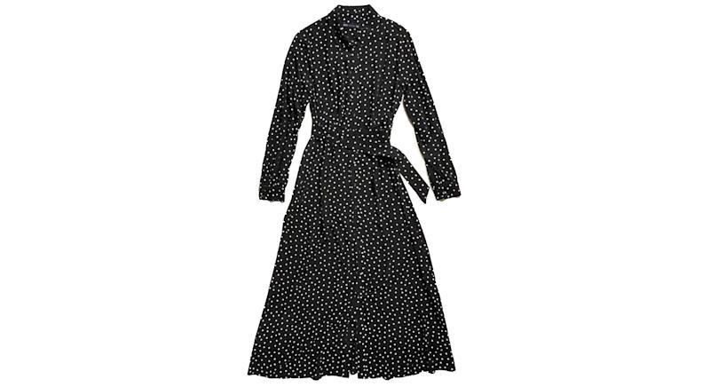 Polka Dot Belted Midaxi Shirt Dress