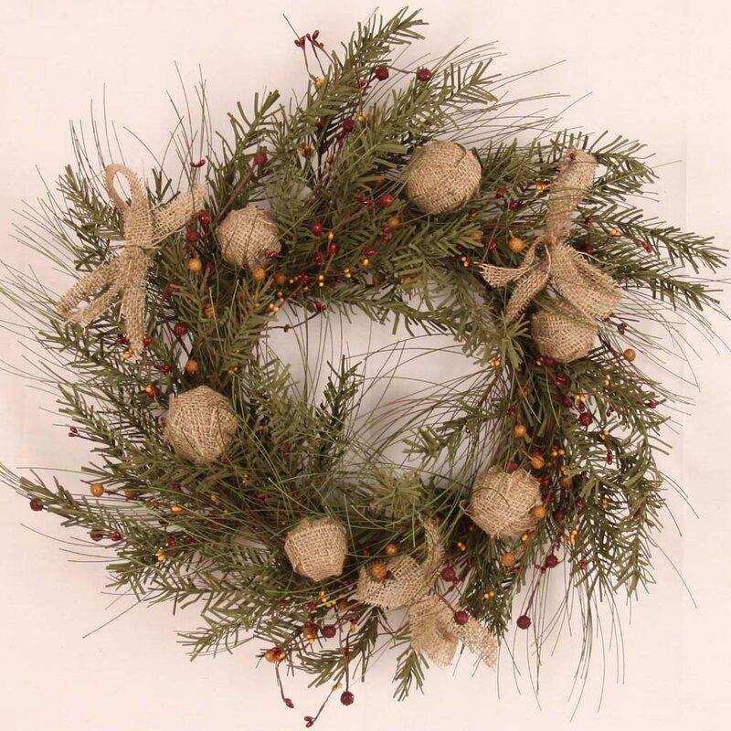 "Burlap Ball/Berry 18"" Wreath. Image via Wayfair."