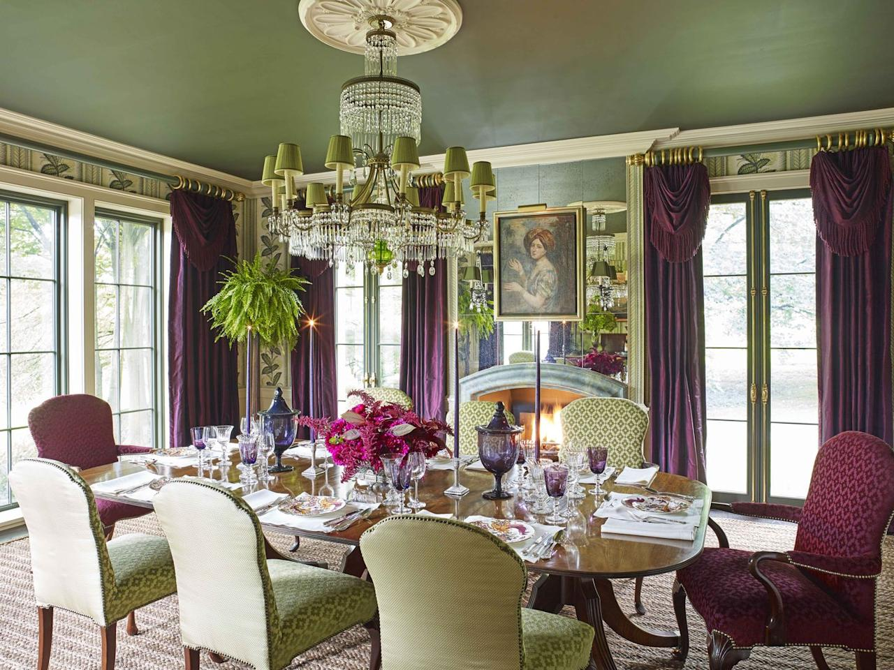 """<p><a href=""""https://www.benjaminmoore.com/en-us"""" target=""""_blank"""">Benjamin Moore's</a> Backwoods covers the dining room ceiling of  a Pennsylvania farmhouse designed by <a href=""""https://www.richardkeithlangham.com"""" target=""""_blank"""">Richard Keith Langham</a>, creating a cozy atmosphere. The curtains, decked out with bullion trim, are in a plum-colored <a href=""""https://www.fschumacher.com"""" target=""""_blank"""">Schumacher</a> silk. </p>"""