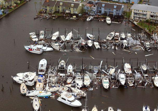 PHOTO: Damaged boats left in the wake of Hurricane Harvey, Aug. 28, 2017, in Corpus Christi, Texas. (Gabe Hernandez/Corpus Christi Caller-Times via AP)