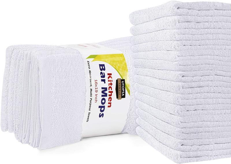 Utopia Towels Kitchen Bar Mop 12 Pack. Image via Amazon.