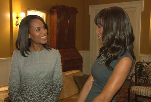 Shaun Robinson chats with Kerry Washington on the set of 'Scandal' Season 3 -- Access Hollywood