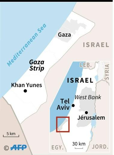 """Map locating the Gaza Strip, where Israeli planes and tanks struck """"military targets"""" on Friday in response to gunfire aimed at Israeli troops, the government said"""