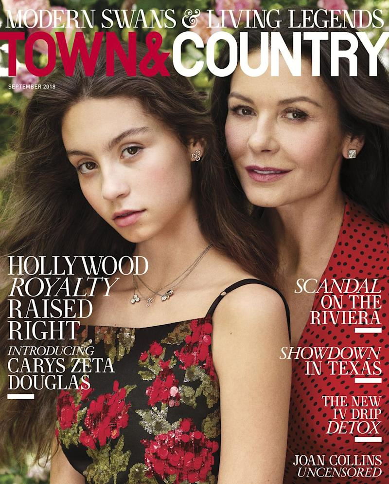 Carys Douglas and Catherine Zeta-Jones stars on the front of Town & Country September 2018 issue. [Photo: Town & Country]