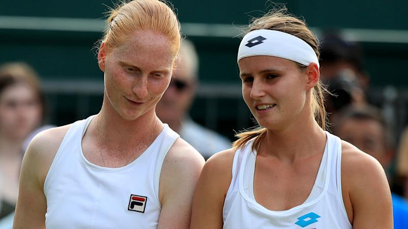 Alison Van Uytvanck and Greet Minnen teamed up at Wimbledon to play doubles together. (Photo by Adam Davy/PA Images via Getty Images)