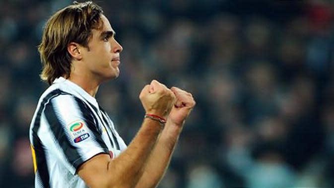 Ekspresi Alessandro Matri yang memborong dua gol Juventus ketika ditahan seri Genoa 2-2 pada partai lanjutan Serie A di Juventus Arena, Turin, 22 Oktober 2011. AFP PHOTO/OLIVIER MORIN