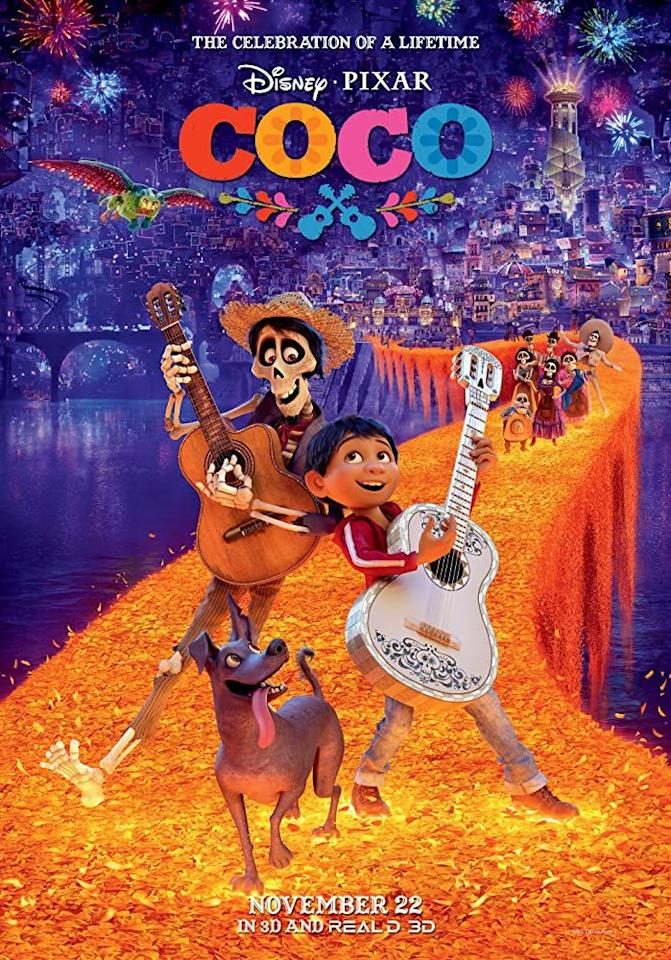 """<p><em>Coco </em>was inspired by the Mexican holiday """"Day of the Dead<em>,</em>"""" which begins November 1. About memory, death, tradition, and family, <em>Coco</em> is just about as Halloween as a movie can possibly be.</p><p><a class=""""body-btn-link"""" href=""""https://www.amazon.com/Coco-Theatrical-Version-Anthony-Gonzalez/dp/B0779FK899/ref=sr_1_1?dchild=1&keywords=Coco&qid=1593548487&s=instant-video&sr=1-1&tag=syn-yahoo-20&ascsubtag=%5Bartid%7C10063.g.34171796%5Bsrc%7Cyahoo-us"""" target=""""_blank"""">WATCH HERE</a></p>"""