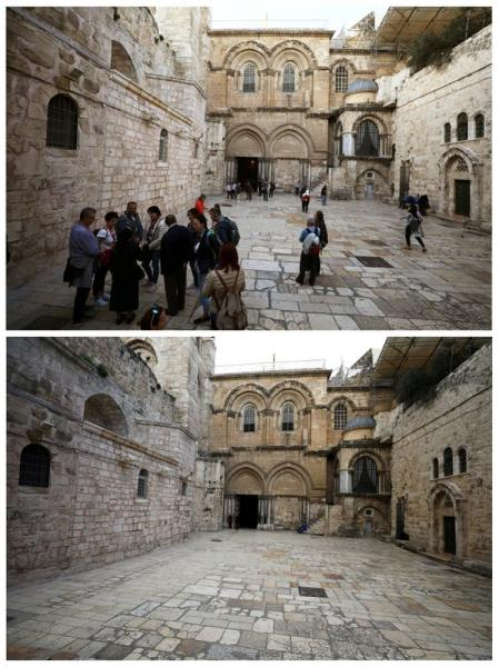 FILE PHOTO: Combination picture shows an area near the entrance of the Church of the Holy Sepulchre in Jerusalem's Old City