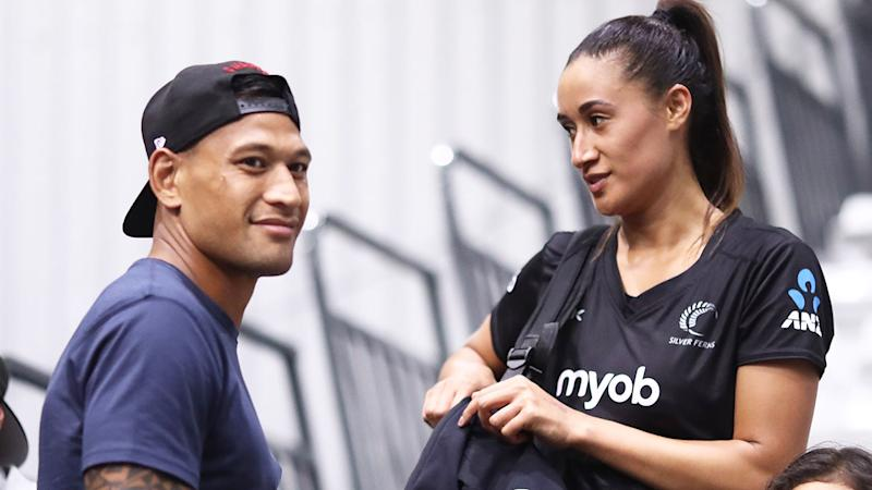 Israel Folau, pictured with wife Maria, had his GoFundMe page shut down on Monday morning.