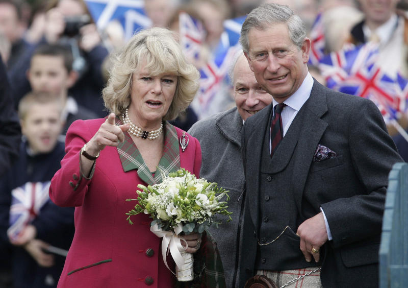 Camilla wore the Pearl of the Dee Brooch upside down to her first ever royal engagement to the Monaltrie Park playground in Scotland in 2005. Photo: Getty