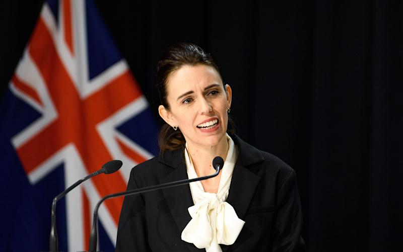 Prime Minister Jacinda Ardern provides an update on the new cases in New Zealand - Mark Tantrum/Getty Images