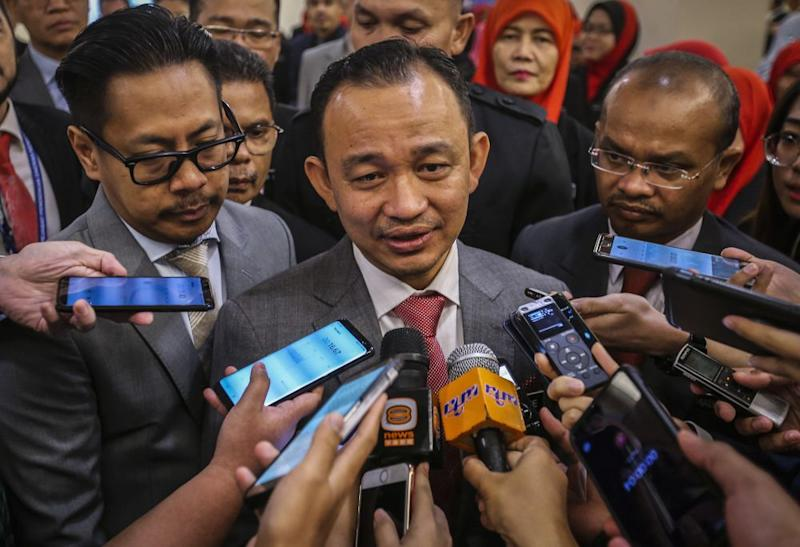 Education Minister Maszlee Malik speaks to reporters after officiating a convention for the ministry's administrative staff in Kuala Lumpur March 20, 2019. — Picture by Firdaus Latif