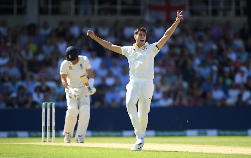 Australia bowler Pat Cummins appeals for a wicket of Joe Denly during the Ashes. (Photo by Stu Forster/Getty Images)