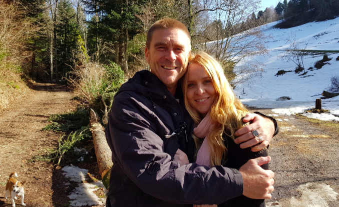 Christine and Trent Thornton pictured in a wooded area. Source: GoFundMe/ Don't Let Me Die Alone