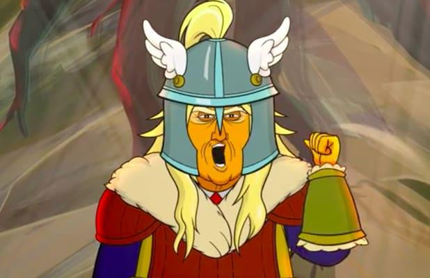 'Our Cartoon President': Trump Fights Mike Pence Dressed Up as Coronavirus (Exclusive Video)