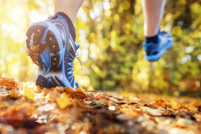 Outdoor cross-country running in summer autumn sunshine concept for exercising, fitness and healthy lifestyle