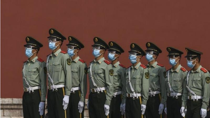 Soldiers guard the Forbidden City in Beijing