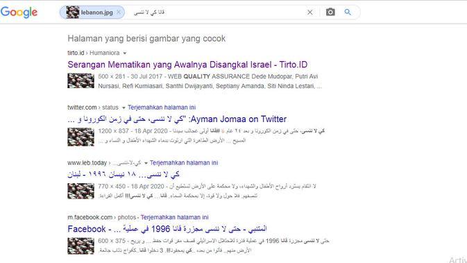 Hasil penelusuran Google Image korban serangan udara Israel.