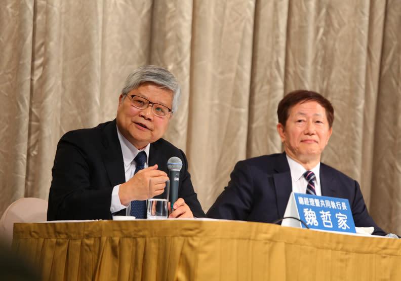 (2018年資料照)左起為台積電總裁魏哲家、董事長劉德音。賴永祥攝