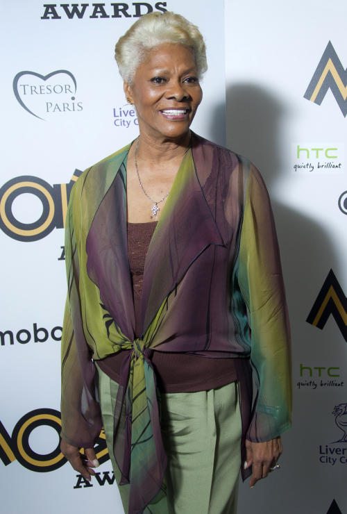 "FILE - This Nov. 3, 2012 file photo shows singer Dionne Warwick after receiving the lifetime acheivement award at the 2012 MOBO Awards in Liverpool. Warwick claims in a recent bankruptcy filing that she owes nearly $10 million in back taxes. The South Orange resident and singer of classics such as ""Walk On By,"" ""I Say a Little Prayer"" and ""Do You Know the Way to San Jose"" filed a Chapter 7 petition in U.S. bankruptcy court in New Jersey last Thursday. (Photo by Joel Ryan/Invision/AP, file)"