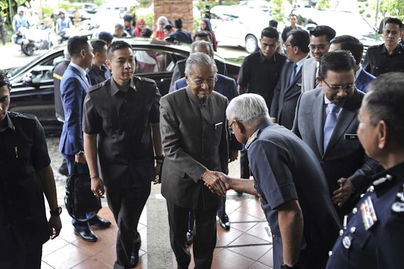 Prime Minister Tun Dr Mahathir Mohamad arrives for the launch of the National Anti-Drug Month in Putrajaya, February 18, 2020. — Picture by Shafwan Zaidon
