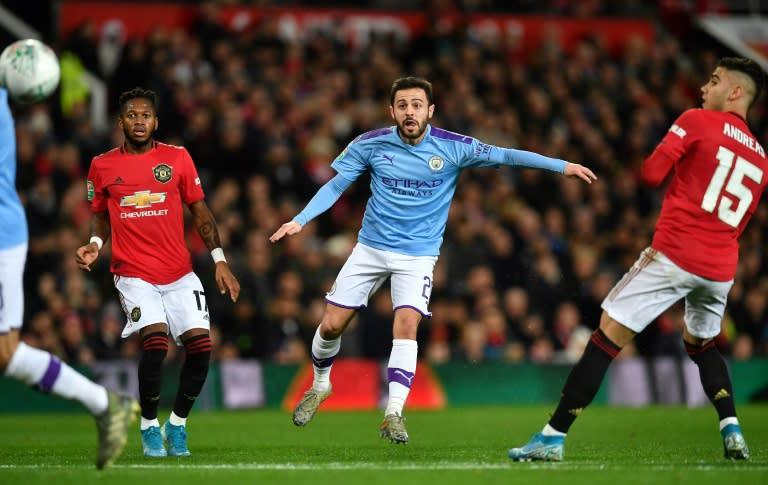 Bernardo Silva (centre) smashes Manchester City in front against Manchester United