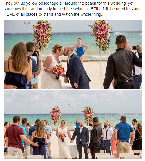 The original post, re-shared to Reddit, called out a beachside wedding crasher. Photo: Reddit
