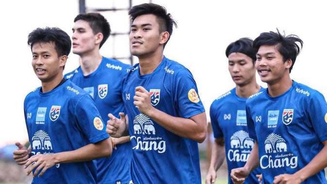 Timnas Thailand U-22 saat sesi latihan menjelang SEA Games 2019. (Bola.com/Dok. FAT)