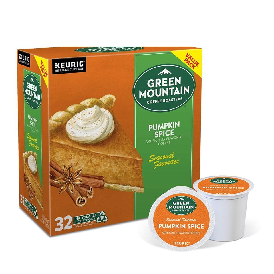 "<p>We're very interested in this <product href=""https://www.amazon.com/Green-Mountain-Coffee-Flavored-Pumpkin/dp/B07FXZDF8B/ref=sr_1_7?dchild=1&amp;keywords=pumpkin+spice&amp;qid=1600891191&amp;sr=8-7"" target=""_blank"" class=""ga-track"" data-ga-category=""internal click"" data-ga-label=""https://www.amazon.com/Green-Mountain-Coffee-Flavored-Pumpkin/dp/B07FXZDF8B/ref=sr_1_7?dchild=1&amp;keywords=pumpkin+spice&amp;qid=1600891191&amp;sr=8-7"" data-ga-action=""body text link"">Green Mountain Coffee Roasters Pumpkin Spice Coffee</product> ($17).</p>"